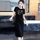 短袖洋裝100%純棉修身顯瘦連身裙21夏季新款時尚氣質休閒過膝t恤長裙女 快速出貨