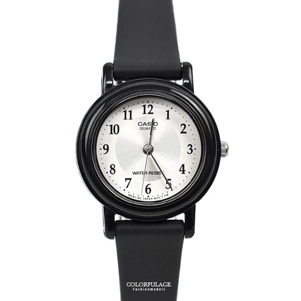 CASIO手錶 小圓銀面數字矽膠錶NECA5