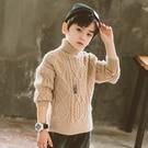 男孩純色長袖韓版毛衣 男寶寶毛衣加絨套頭衫上衣 潮流男童秋冬洋氣打底衫 高領男中大童針織衫