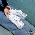 小白鞋女魔術貼懶人百搭軟皮板鞋平底白鞋【愛物及屋】