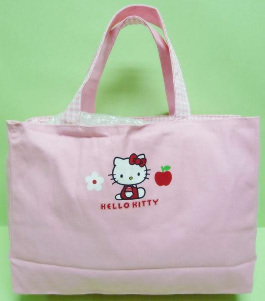 【震撼精品百貨】Hello Kitty 凱蒂貓~手提袋『側坐蘋果白花』