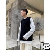 針織毛衣馬甲背心男寬鬆潮流外套潮【左岸男裝】