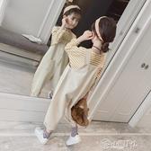 女童吊帶褲 女童秋裝套裝2019新款女孩大童韓版吊帶褲兒童時髦兩件套洋氣