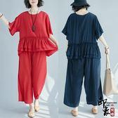 正韓寬鬆大尺碼女加肥寬鬆潮休閒兩件時尚套【印象閣樓】