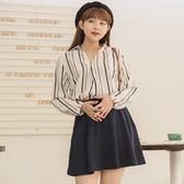 Poly Lulu 簡約配色條紋上衣短裙套裝-深藍【91280094】