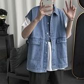 夏季薄款牛仔夾克男韓版寬鬆無袖背心潮流ins潮工裝外套坎肩馬甲 安雅家居館