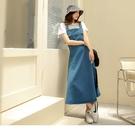 《DA8623-》高含棉牛仔口袋鬆緊收腰高腰吊帶洋裝 OB嚴選
