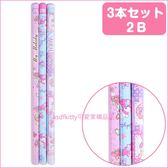 asdfkitty可愛家☆美樂蒂粉藍紫六角鉛筆-2B-3入-日本正版商品