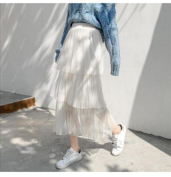 蛋糕裙 2019春夏季新款蛋糕裙百褶裙紗裙半身裙女中長款仙女網紗裙長裙子