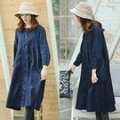 洋裝-亞麻中長版寬鬆風衣外套/設計家 Q8912