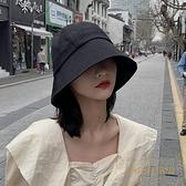 漁夫帽女薄款黑色防曬帽水桶帽子遮臉遮陽盆帽【繁星小鎮】