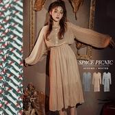 長袖 洋裝 Space Picnic|滿版圖騰荷葉領雪紡洋裝(現貨)【C19101003】