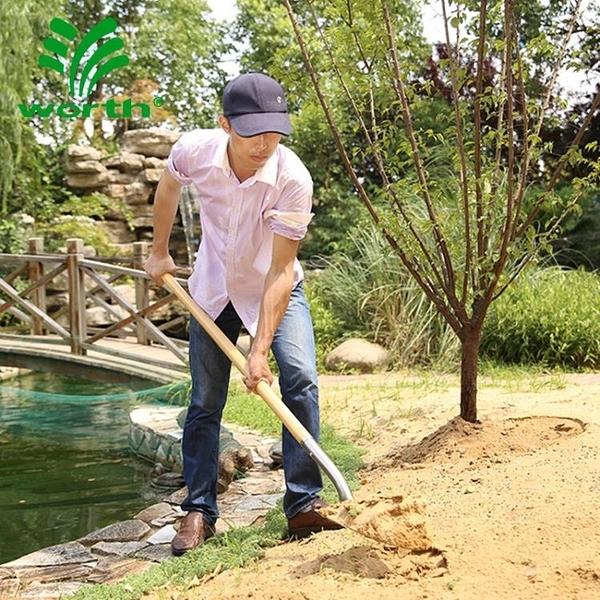 園藝鏟 沃施worth園藝長木柄尖頭鐵鍬方頭鐵鏟種菜農具園林挖土種樹工具 源治良品