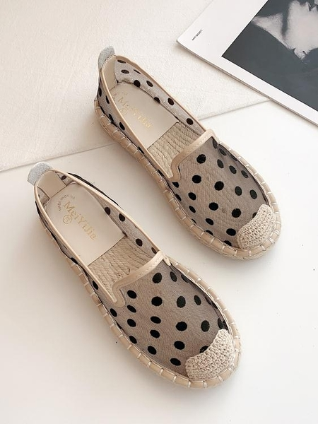漁夫鞋2021春夏新款編織漁夫鞋女平底淺口單鞋網面透氣一腳蹬懶人孕婦鞋  迷你屋 新品