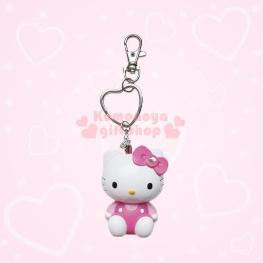 〔小禮堂〕Hello Kitty 造型LED吊飾警報器《S.白.坐姿.粉衣.粉蝴蝶結》8021084-20001