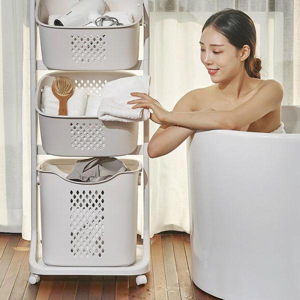 洗衣收納籃推車 【創意巴巴】北歐風 三層 洗衣 雙向 收納籃 推車
