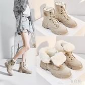 戶外雪地靴女冬鞋防水防滑馬丁靴女保暖短棉靴加絨加厚鞋 三角衣櫃