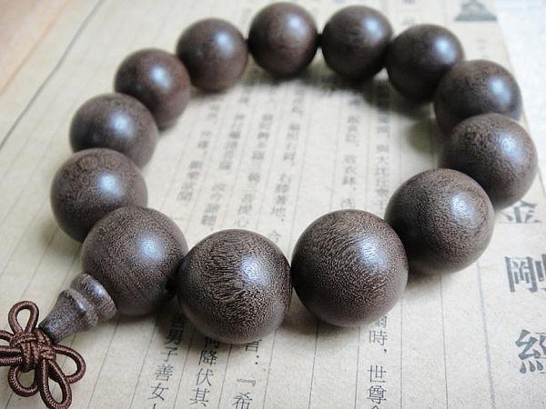 17mm 啞光麻柳碳化木手鏈念珠