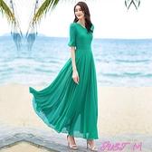 素色洋裝連身裙女裝度假素色五分袖新款長裙過膝沙灘裙大碼夏季V領大擺裙 JUST M