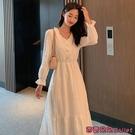 雪紡洋裝 雪紡長裙子女裝法式設計感小眾復古氣質收腰赫本風溫柔洋裝女夏-Ballet朵朵