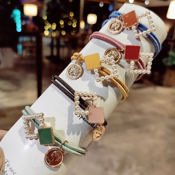 【NiNi Me】韓系髮飾 氣質甜美幾何方塊珍珠髮束 髮束 H9513