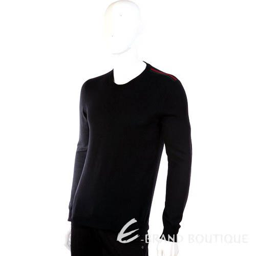 GUCCI 經典綠紅綠條紋飾圓領針織上衣(黑色) 1310396-01