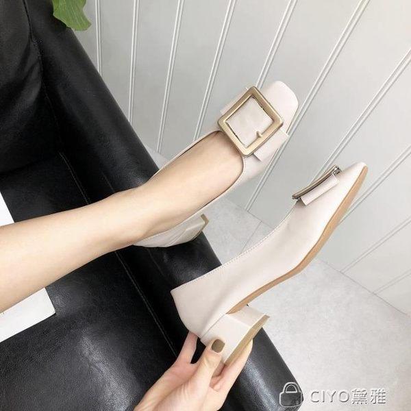 方頭高跟鞋女粗跟新款淺口百搭復古方扣中跟春季單鞋  ciyo黛雅