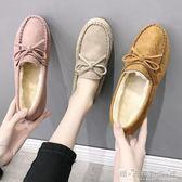 豆豆鞋女平底單鞋牛筋軟底加絨棉鞋舒適新款秋冬女士懶人媽媽 晴天時尚館