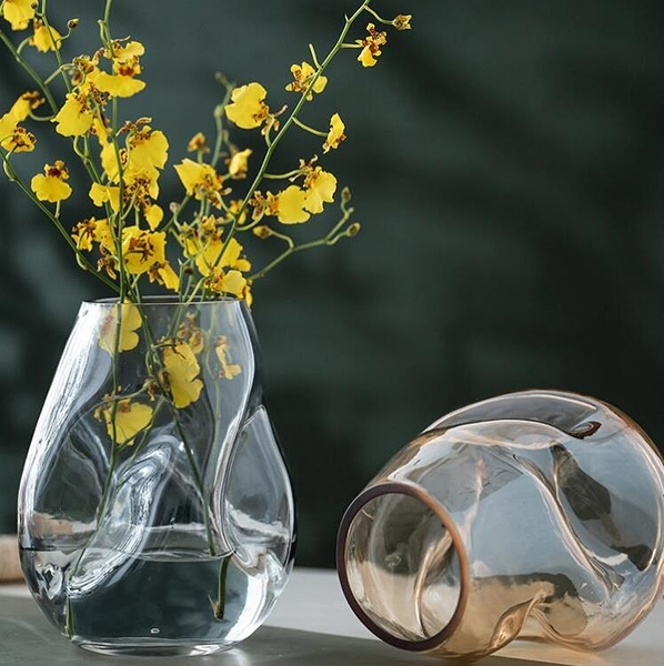 異形不規則輕奢簡約玻璃花瓶擺件北歐客廳創意鮮花水培養干花插器 范思蓮恩