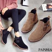 PAPORA百搭鬆緊簡易短靴KA41黑/棕(偏小)