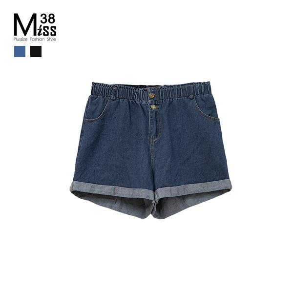 Miss38-(現貨)【A02296】大尺碼牛仔短褲 休閒反折褲管 彈力開扣鬆緊腰 中高腰 五分寬褲-中大尺碼