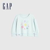 Gap女幼童 碳素軟磨系列 法式圈織燈籠袖圓領休閒上衣 763763-水藍色