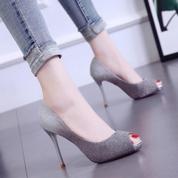 8cm夜場高跟魚嘴單鞋秋新款細跟亮片淺口女鞋韓版職業百搭變色鞋