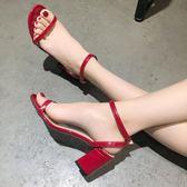 涼鞋女夏季新款韓版百搭仙女鞋子學生港味chic復古粗跟高跟鞋