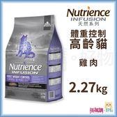 Nutrience紐崔斯『 INFUSION天然高齡體控貓 (雞肉)』2.27kg【搭嘴購】