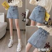 牛仔短裙 牛仔半身裙女2021新款夏季韓版復古高腰修身顯瘦包臀a字短裙子 快速出貨
