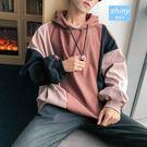 【Y195】shiny藍格子-原宿嘻哈.冬裝男士撞色拼接連帽長袖上衣