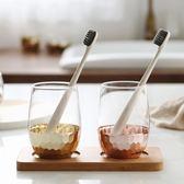 創意歐式電鍍玻璃漱口杯套裝洗漱杯情侶杯牙缸水杯杯子刷牙杯
