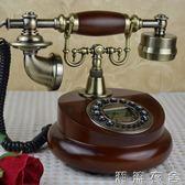 歐式仿古實木電話機創意美式電話機家用電話復古時尚座機電話   潮流衣舍