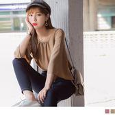《AB7708-》喇叭寬袖設計純色抓皺上衣 OB嚴選