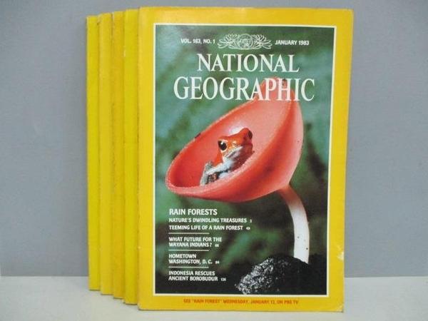 【書寶二手書T9/雜誌期刊_QJX】國家地理雜誌_1983/1~9月間_共5本合售_Rain Forests等_英文版