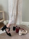 高跟鞋女新款少女涼鞋休閒百搭性感氣質法式網紅粗跟單鞋ins 格蘭小鋪