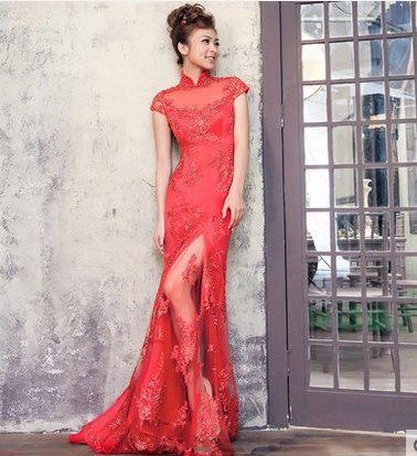 紅色蕾絲旗袍婚紗 敬酒禮服旗袍-mingm0018