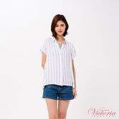 Victoria 印直條後波浪下襬短袖襯衫-女-V75083