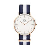 【Daniel Wellington】CLASSIC瑞典時尚品牌經典簡約尼龍腕錶-藍白x銀-40mm/DW00100004/原廠兩年保固