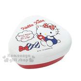 〔小禮堂〕Hello Kitty 日製三角飯糰便當盒《紅白.三角型.坐姿.照鏡子》創意便當輕鬆做  4970825-10761