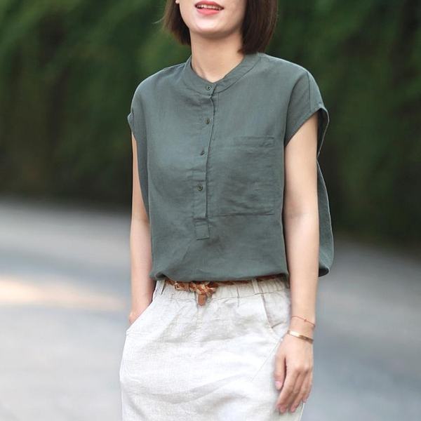 2021夏文藝復古氣質凈色工裝口袋襯衫女立領無袖上衣寬鬆大碼棉麻陽光好物
