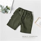 字母數字口袋平織短褲 素面 綠色 純色 百搭 簡約 休閒 墨綠 夏天 男童 短褲 彈性 哎北比童裝