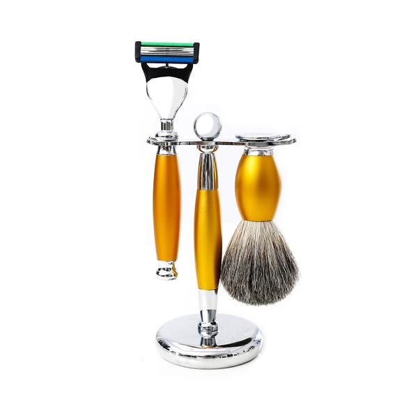 五刀式刮鬍刀豪華禮盒四件組 - 香檳金 父親節禮物情人節禮物生日禮物聖誕節禮物