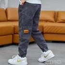 男孩褲子新款男童加絨牛仔褲春秋季中大童寬鬆長褲兒童工裝褲 快速出貨 快速出貨